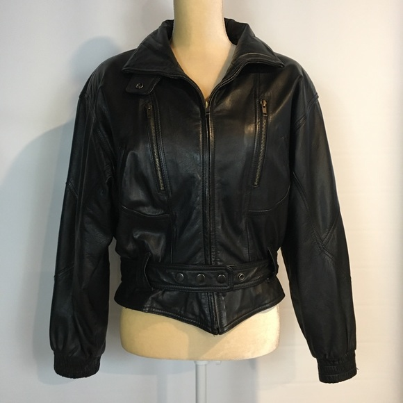 f09ae6354 Wilsons Leather M Black Leather Moto Jacket